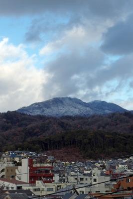 令和二年の大晦日、雪を纏い京都市街を見下ろす比叡山