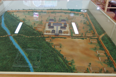 不破関資料館に展示される古代不破関の復原模型(ジオラマ)